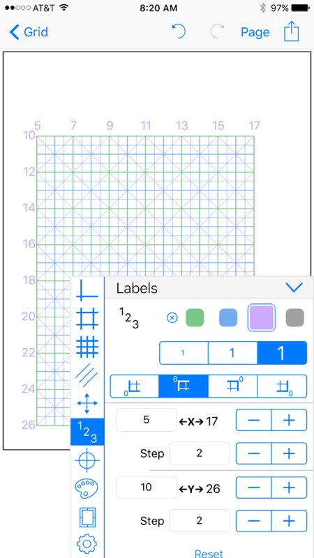 Grid Maker app labels set step place origin on graph paper