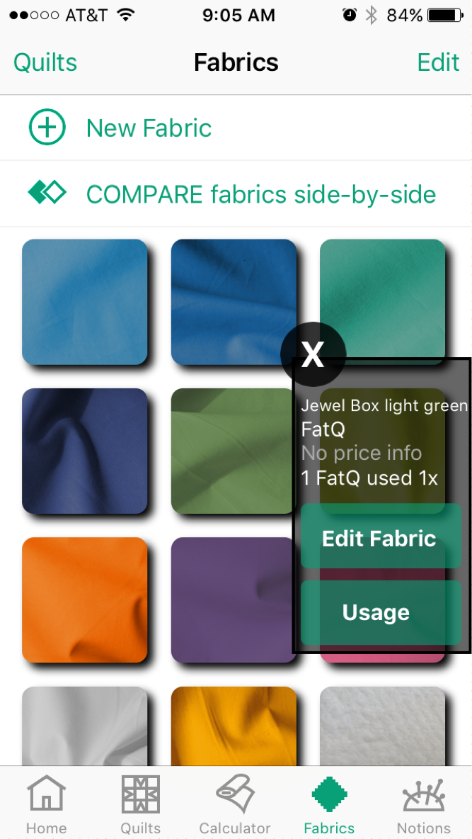 Tap a tile to see Quilt Sandwich fabric details or edit