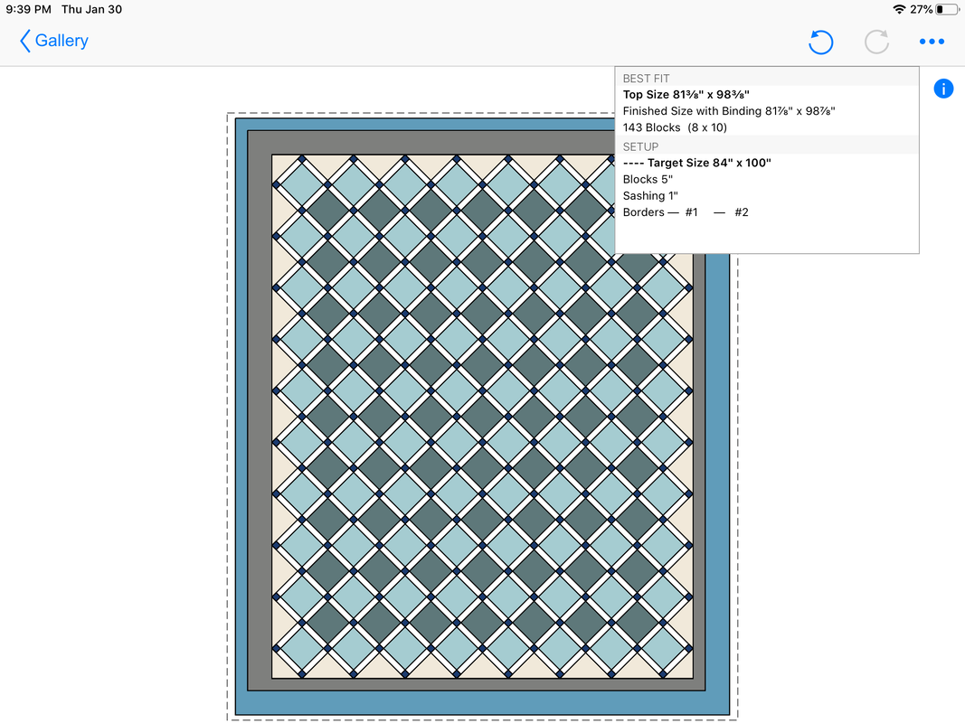 Quilt Size layout summary